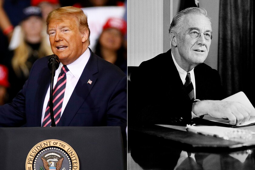President Trump at campaign rally, February 2020, left; President Franklin Roosevelt in 1944.