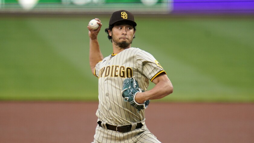 San Diego Padres pitcher Yu Darvish delivers during the first inning against the Pittsburgh Pirates.