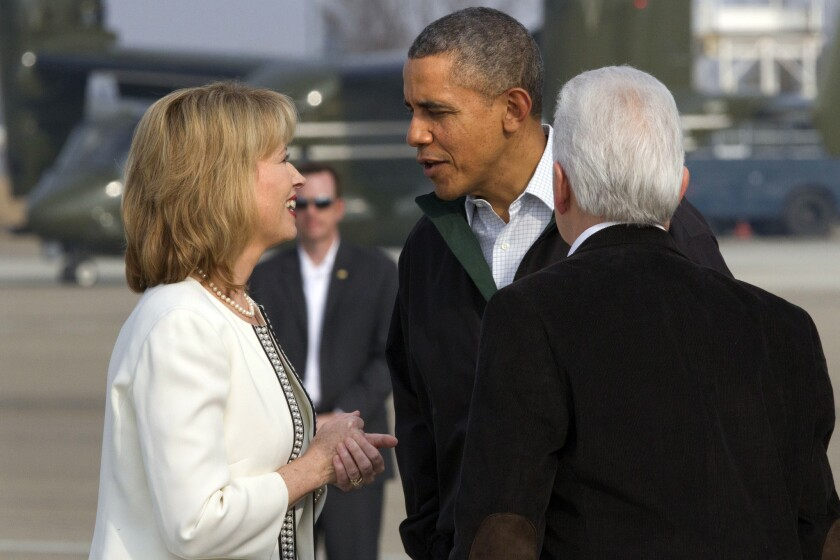 Fresno Mayor Ashley Swearengin, left, greeted President Obama last month when he visited Fresno to discuss California's ongoing drought. Swearengin filed as a candidate for the state controller's office this week.