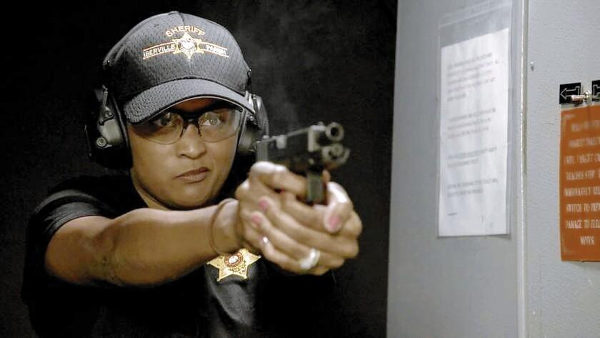 """Det. Leslie Bradford at the gun range in """"Killing Fields."""""""