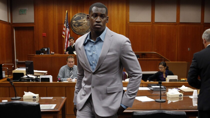 San Francisco 49ers linebacker Aldon Smith leaves a Santa Clara County Superior courtroom Wednesday after pleading no contest to weapons and DUI charges.