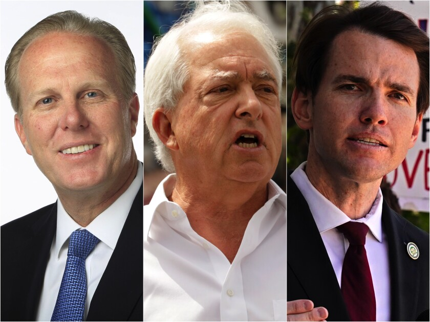 Candidates in the California governor's recall race are Kevin Faulconer, left, John Cox and Kevin Kiley.