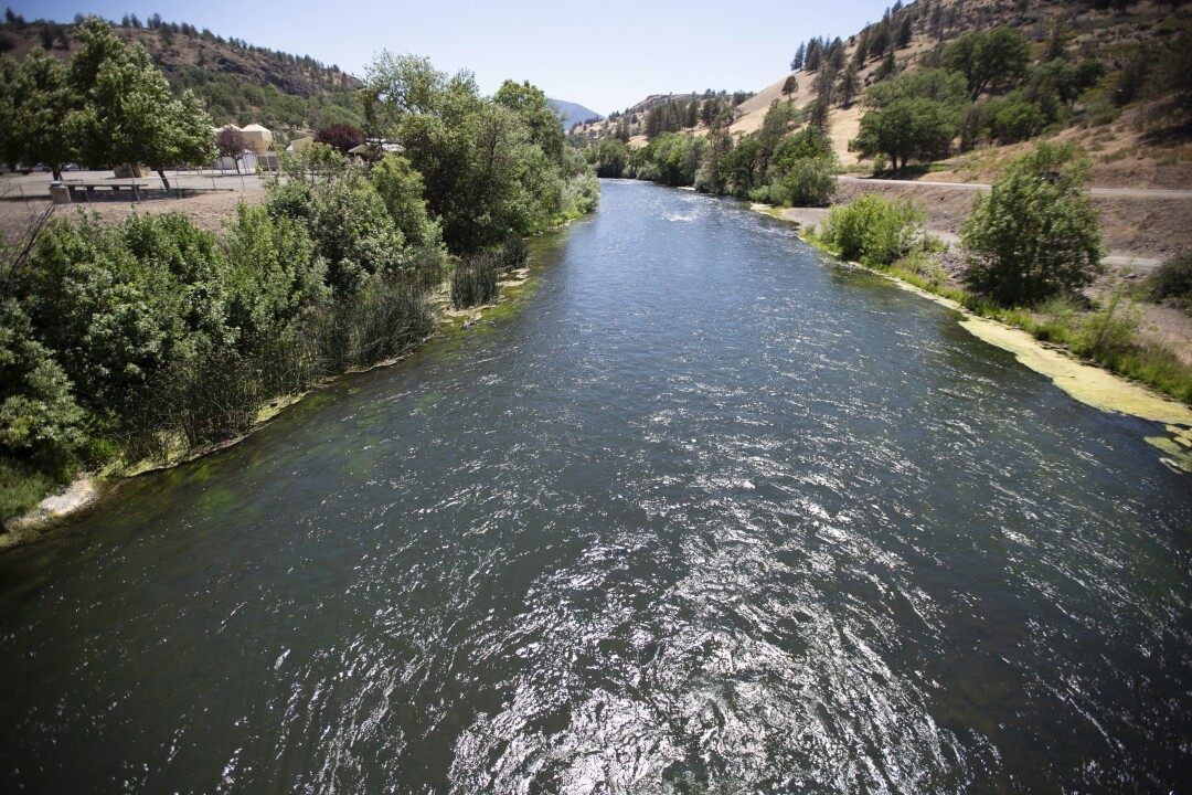 View of the Klamath River just below Iron Gate Dam in Siskiyou County.