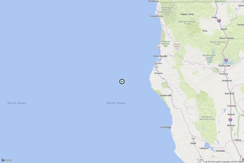 A map showing the location of the epicenter of Sunday morning's quake near Capetown, Calif.
