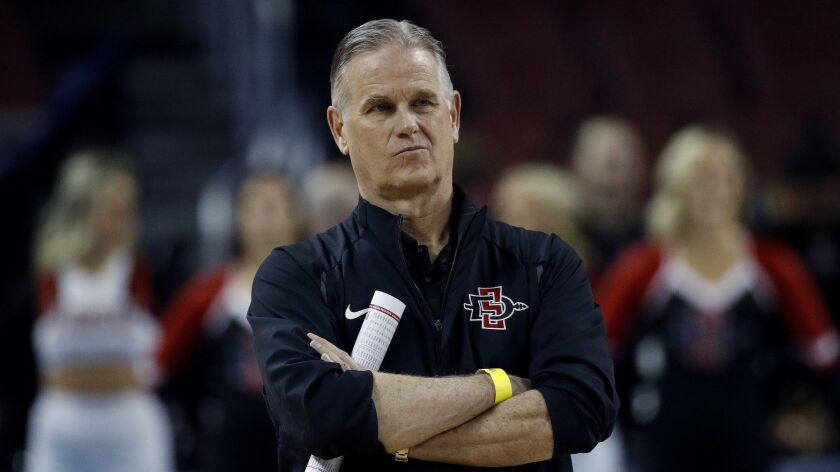 San Diego State coach Brian Dutcher watches practice Wednesday, March 14, 2018, for an NCAA men's co