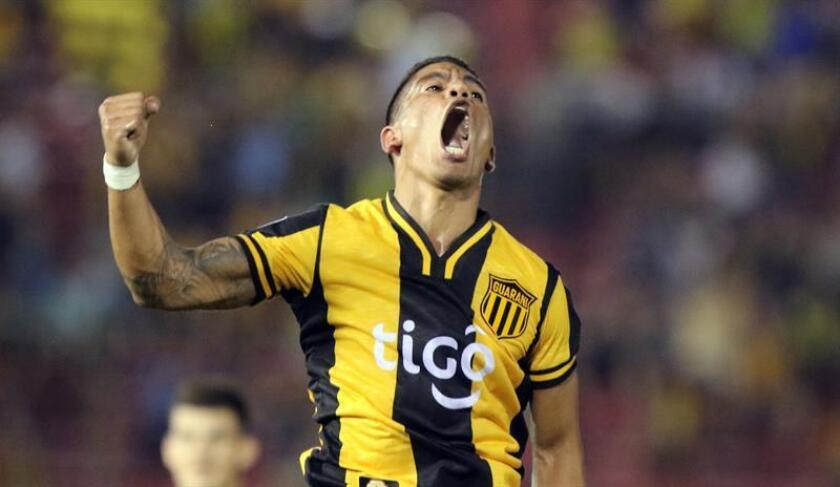 Guarani's Rodolfo Gamarra jubilates a goal during the Copa Libertadores Match between Paraguay's Guarani and Venezuela's Carabobo at the Defensores del Chaco stadium in Asuncion, Paraguay, 06 February 2018. EPA-EFE FILE/Andres Cristaldo
