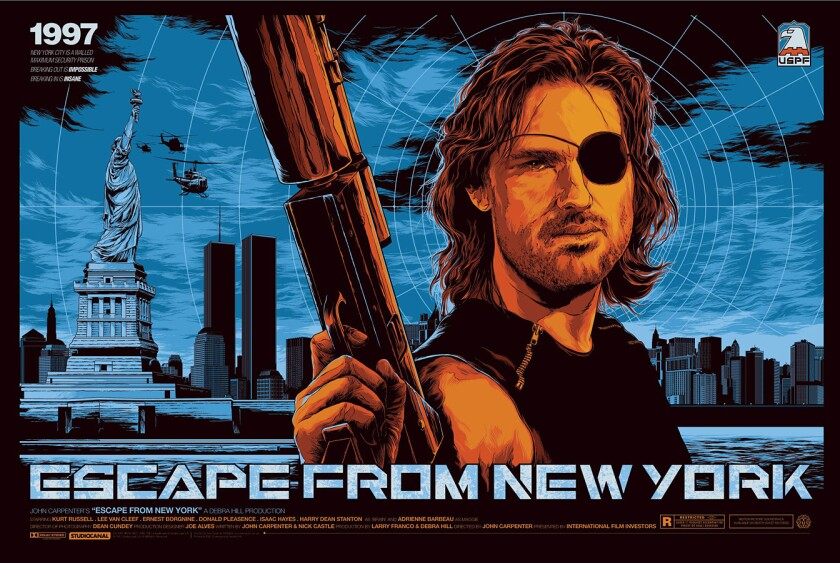 """Poster by Ken Taylor for """"Escape From New York,"""" released by Mondo."""