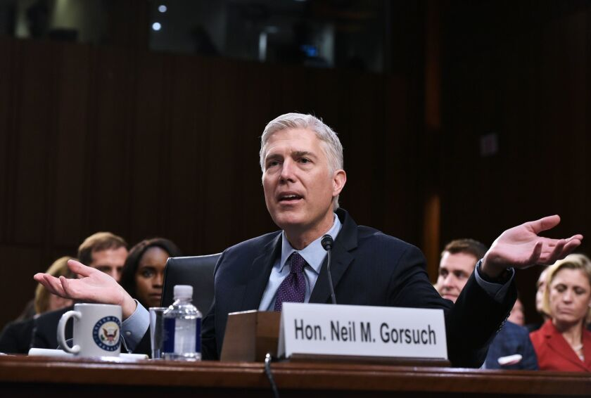 Judge Neil M. Gorsuch testifies before the Senate Judiciary Committee during his confirmation hearing in Washington, D.C.