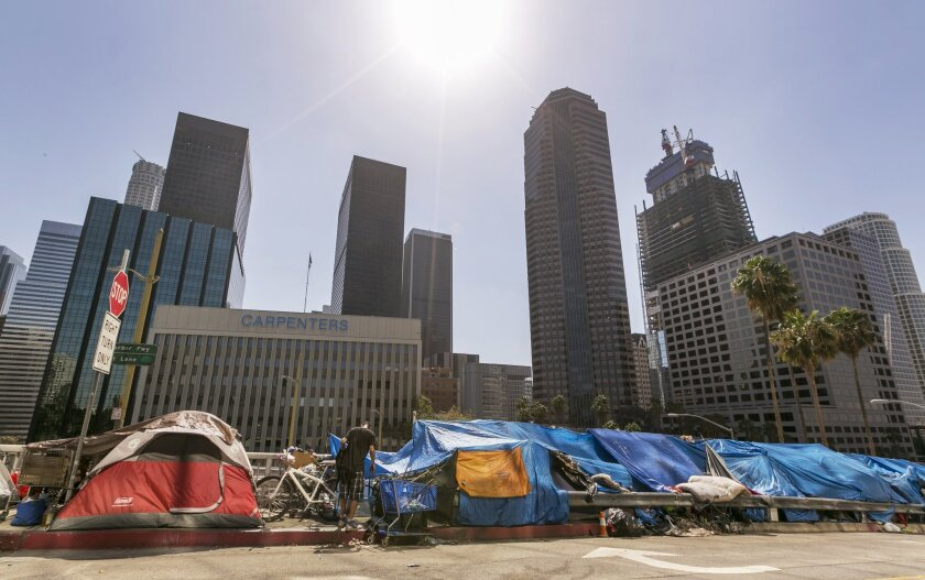 State Senate President Pro Tem Kevin de Leon announced a proposal Monday to spend more than $2 billon on permanent housing to deal with the state's homeless population. Above, homeless people's tents in downtown Los Angeles.