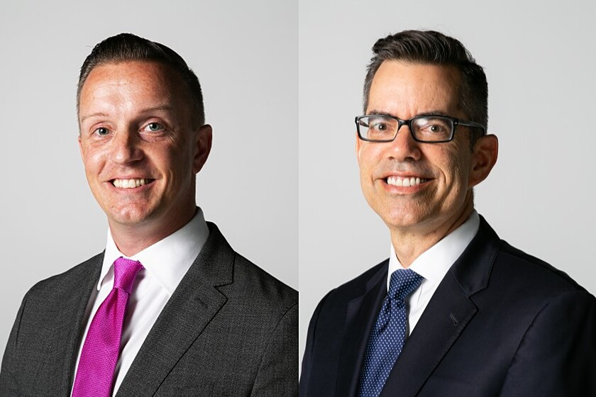 Chris Olsen, left and Stephen Whitburn, right, candidates for San Diego City Council, District 3