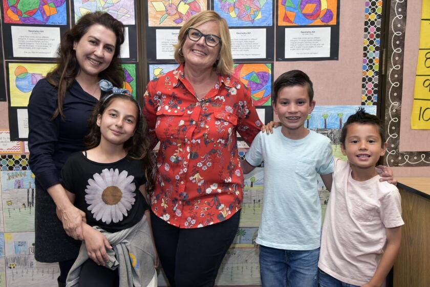 Zohreh Pashmforoush, Sophia, 3rd grade teacher Lisa Salley, Asher, Landon