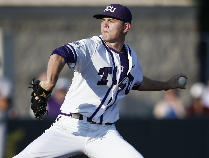 TCU pitcher Tyler Alexander delivers to Sam Houston State during the first inning of an NCAA college baseball regional tournament game in Fort Worth, Texas, Sunday, June 1, 2014. (AP Photo/Jim Cowsert)