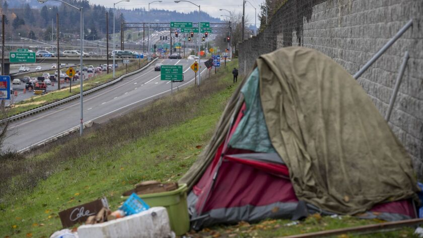 PORTLAND, ORE. -- SATURDAY, DECEMBER 1, 2018: A homeless encampment along Interstate 205 in the Mo