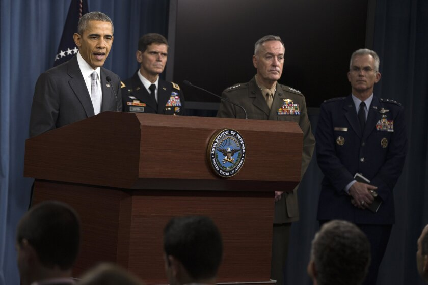 President Obama speaks at the Pentagon following a National Security Council meeting in December. Also pictured are (from L-R) Commander of U.S. Special Operations Command Gen. Joseph Votel, Joint Chiefs Chairman Gen. Joseph Dunford, and Joint Chiefs Vice Chairman Gen. Paul Selva.
