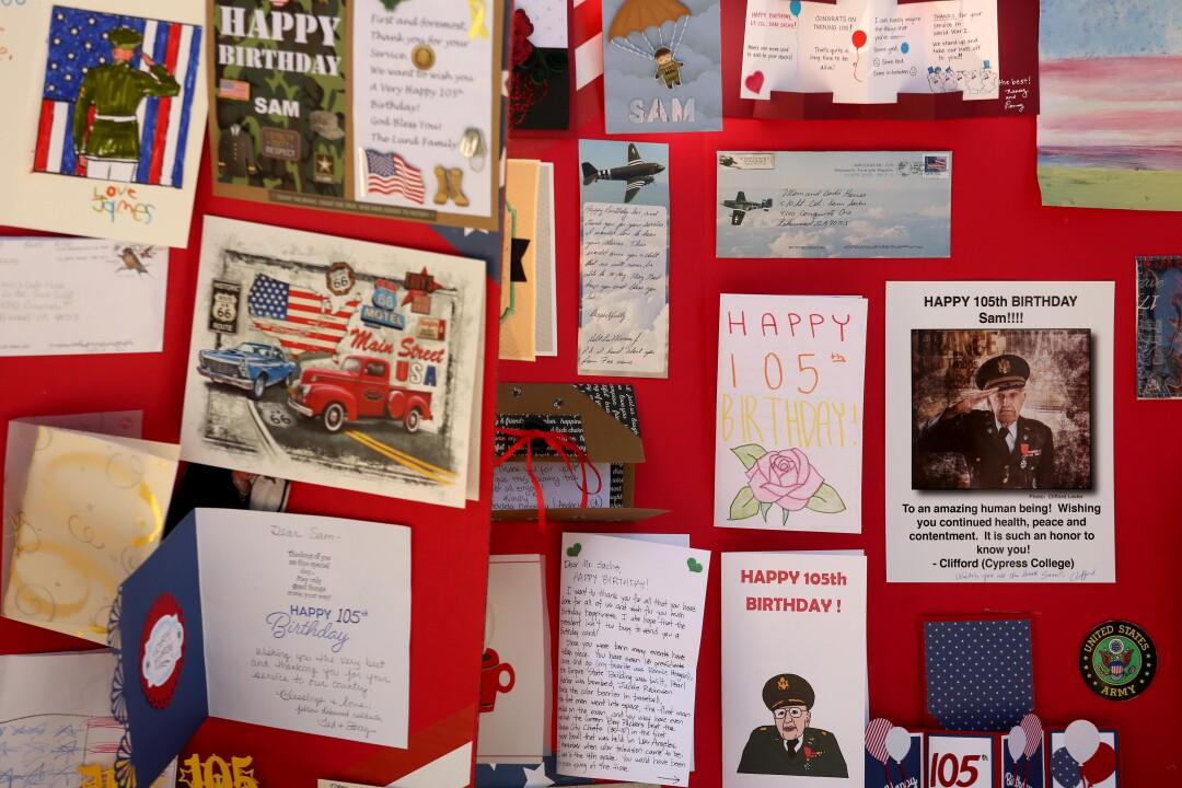 Birthday cards for WWII veteran Lt. Col. Sam Sachs.