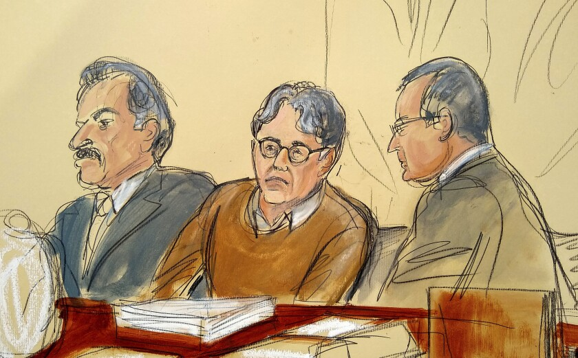 Courtroom drawing of Keith Raniere, leader of NXIVM, seated between his attorneys Paul DerOhannesia and Marc Agnifilo.