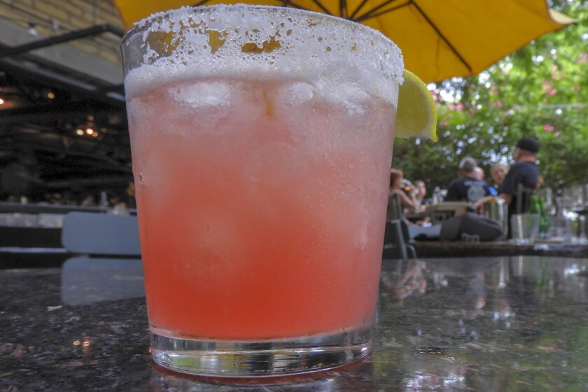 PHOENIX, ARIZONA - The prickly pear margarita at Chelsea's Kitchen in Phoenix gets its pink color fr