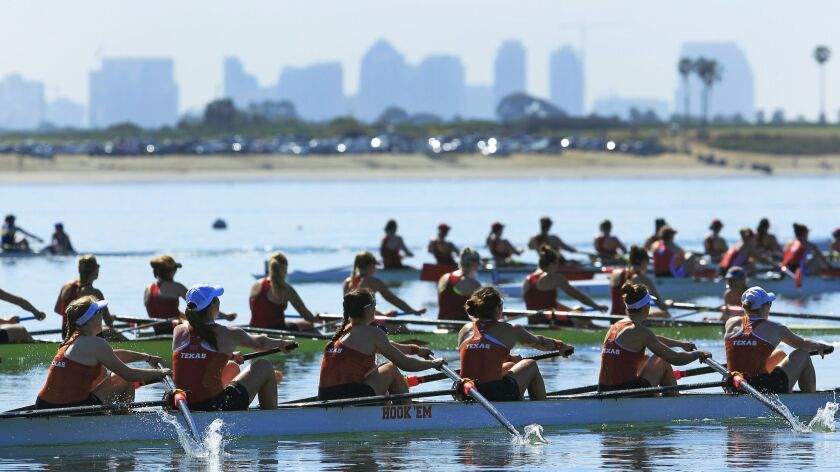 Texas crosses the finish line to win the Varsity 8+ Jessop-Whittier Cup at the San Diego Crew Classic in Mission Bay last April.