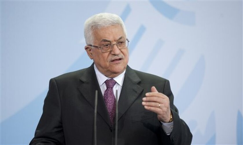 FILE - In this Monday, Feb. 1, 2010 file photo, Palestinian President Mahmoud Abbas gestures during a news conference with the German Chancellor Angela Merkel, not seen, in the Chancellery in Berlin, Germany. The Palestinian government in the West Bank has announced plans to hold municipal elections on July 17. It will be the first election in the Palestinian territories since the Islamic militant Hamas wrested control of Gaza from Palestinian President Mahmoud Abbas in 2007, leaving the Western-backed president in control only of the West Bank. (AP Photo/Gero Breloer, File)