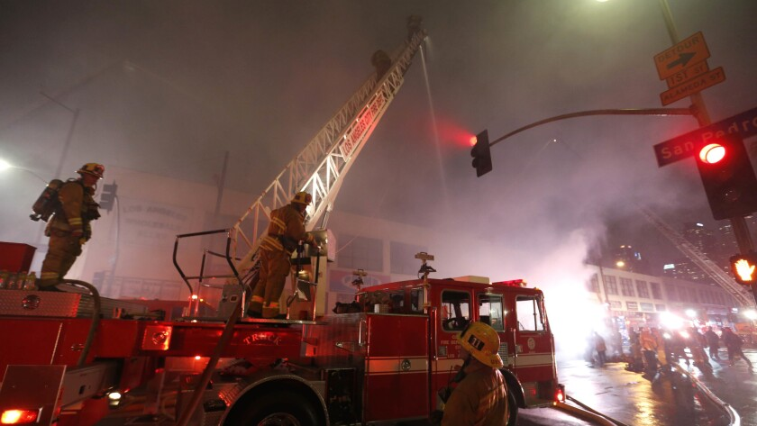 The fire broke out in the 300 block of East 3rd Street.