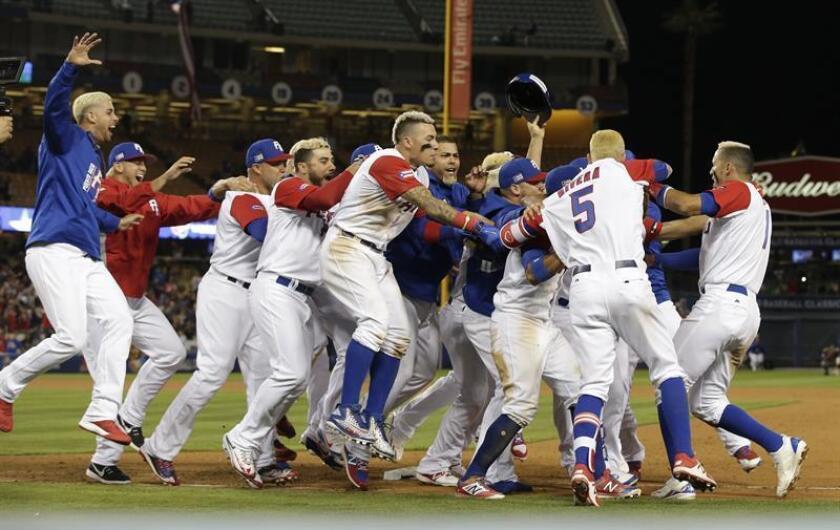 Jugadores de la selección de Puerto Rico celebran una victoria. EFE/Archivo