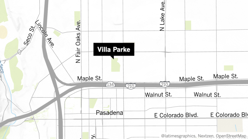Map showing location of Villa Parke in Pasadena