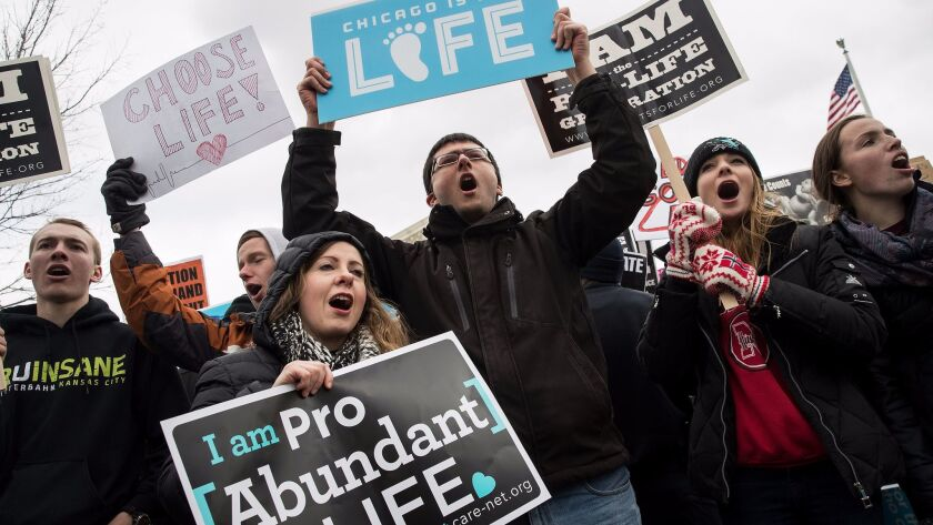 Antiabortion advocates rally outside the Supreme Court during the March for Life on Jan. 27.