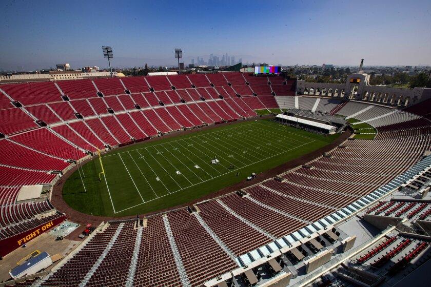 An empty Los Angeles Memorial Coliseum.