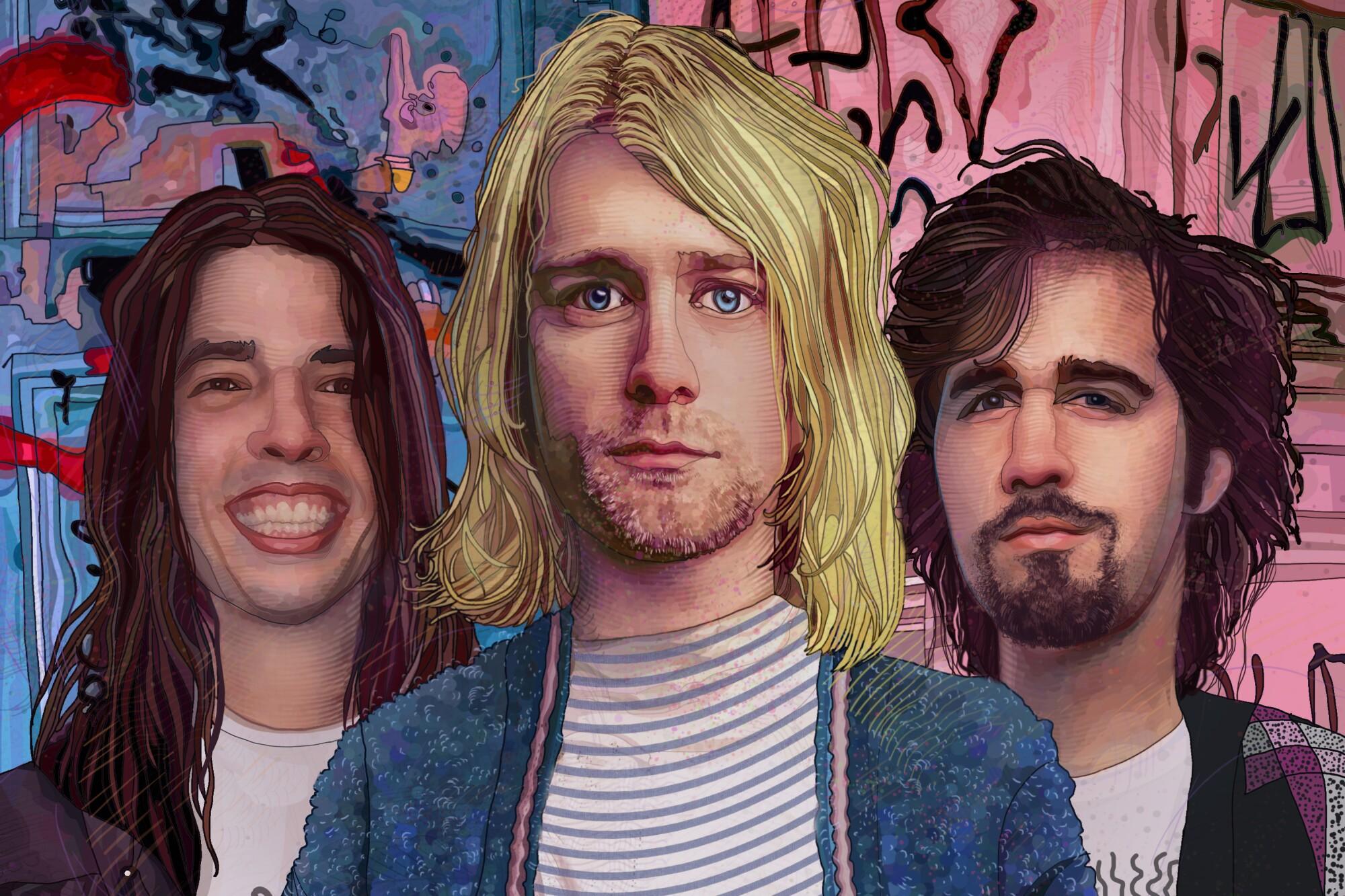 Illustration: From left, Nirvana's Dave Grohl, Kurt Cobain, and Krist Novoselic.