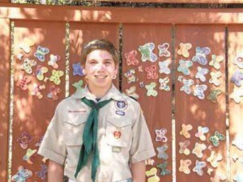 Andrew Bartfield, in front of one of the butterfly presentation displays he helped design and install at Temple Adat Shalom.