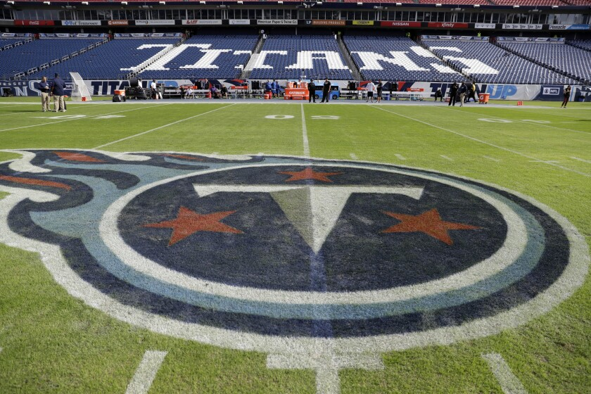 The Tennessee Titans logo is seen in Nissan Stadium before an NFL football game between the Titans.