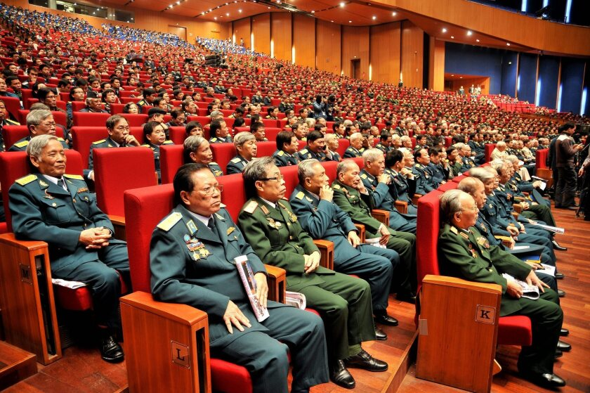 Jan. 27 will be the 40th anniversary of the Paris peace agreement, which formally ended direct U.S. military involvement in Vietnam. Above: Veterans attend a celebration show to mark the 40th anniversary of the so-called 'Hanoi-Dien Bien Phu Victory in the air,' in Hanoi, Vietnam.