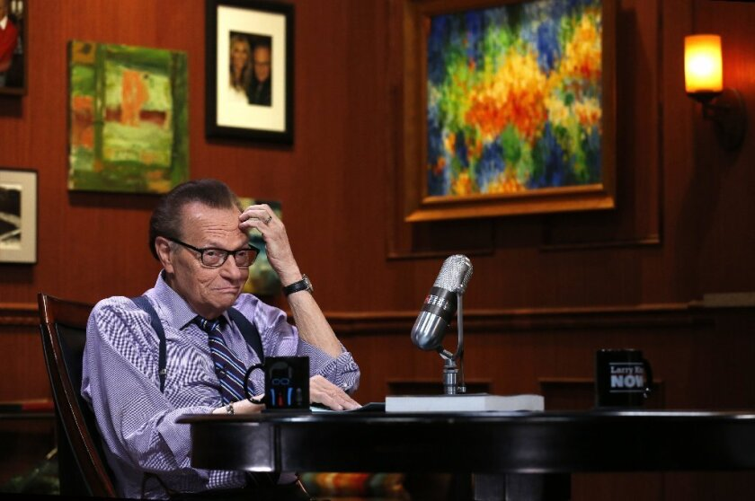Larry King in between interviews at his studio in Glendale.