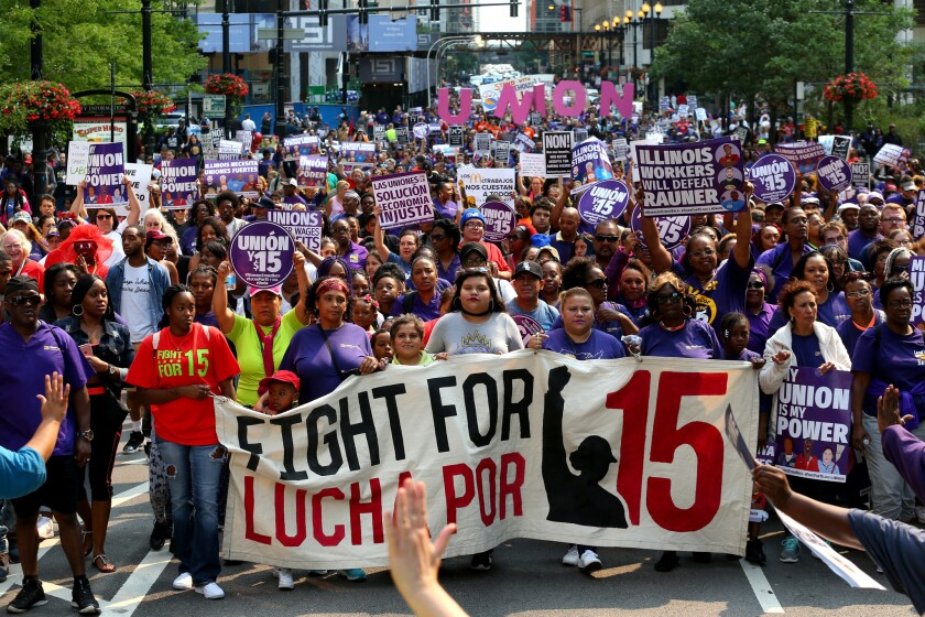 A crowd of more than 2,000 march in downtown Chicago to protest low wages on Labor Day on Sept. 4, 2017.