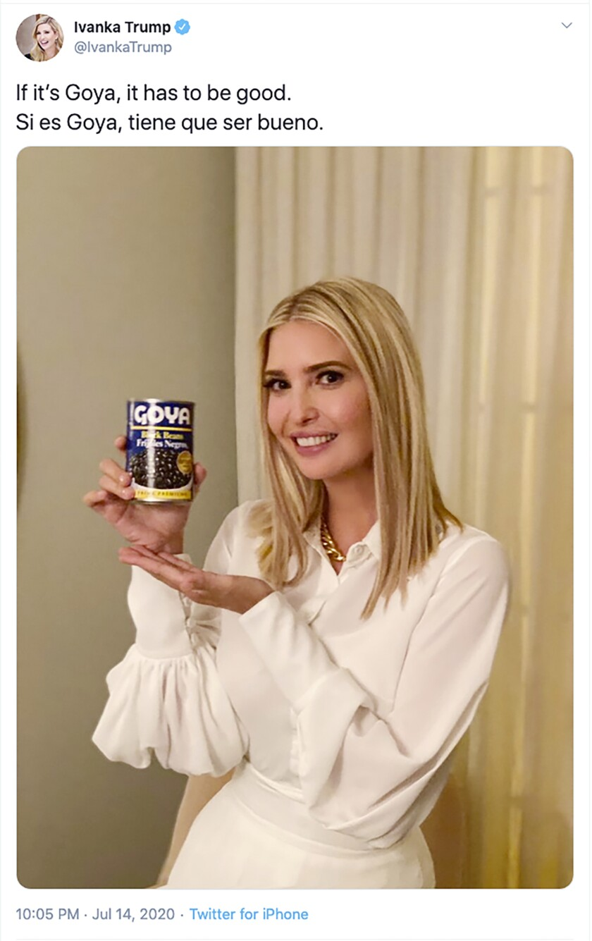 An image from Ivanka Trump's Twitter account shows her holding a can of Goya beans