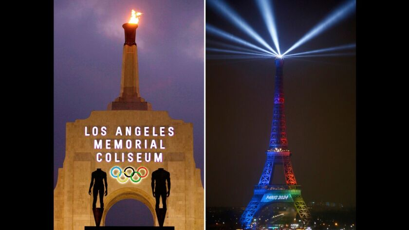 At left, the Los Angeles Memorial Coliseum in Los Angeles is lit on Feb. 13, 2008. At right, the Eiffel Tower is lit with colors for Paris 2024 on Feb. 3.