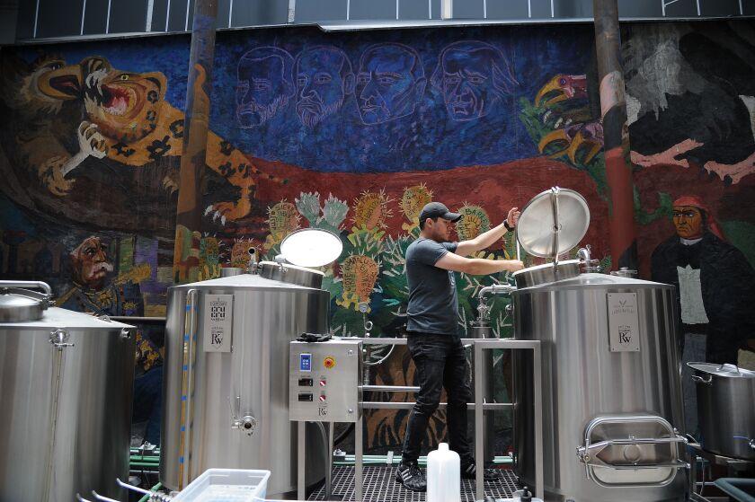 Brewer Armando at the Cru Cru Factory in Mexico City