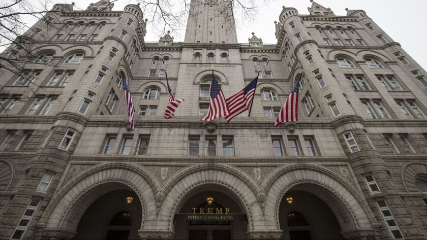 FILE - In this Jan. 4, 2019 file photo, the Trump International Hotel, is shown in Washington. Donal