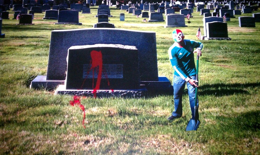 RJ Cipriani was sent this photo as a threat to pay Owen Hanson back $2.5 million, prosecutors said. A private investigator is accused of splashing red paint on his parents' tombstone on the East Coast.