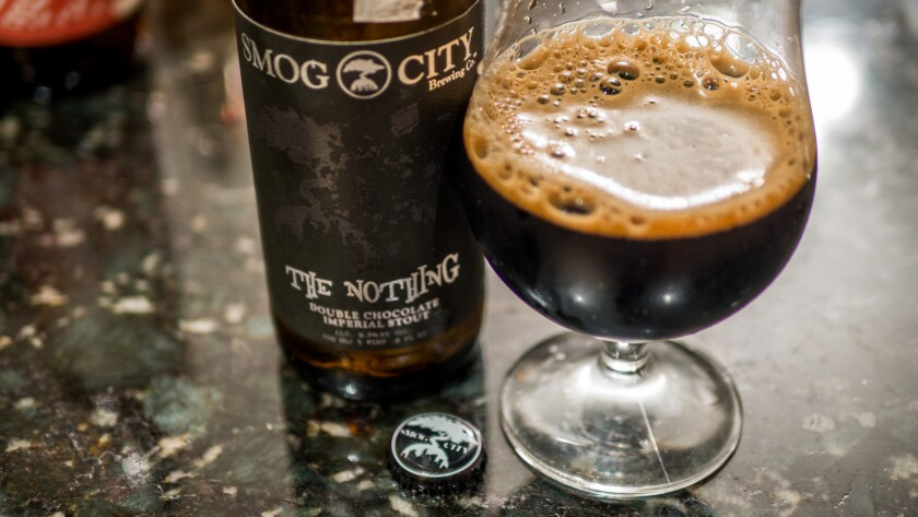 The Nothing from Smog City Brewing, a strong imperial stout which the Smog City brewmaster likes instead of dessert.