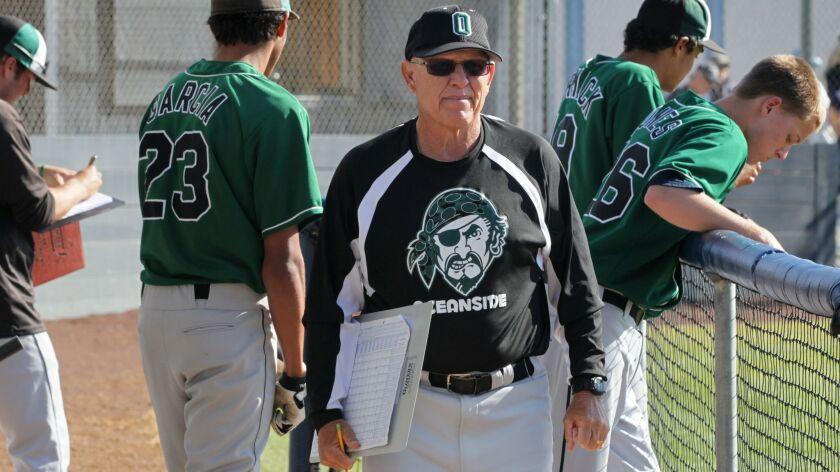April 2, 2013, Encinitas, CA, USA_|Oceanside High School baseball coach Dave Barrett walks along his