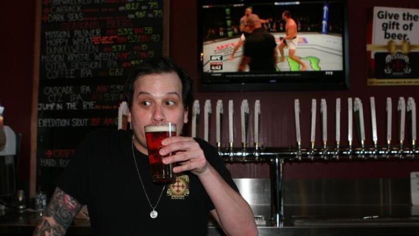 Adam Aguilar, bartender at Mission Brewery (Liz Bowen)
