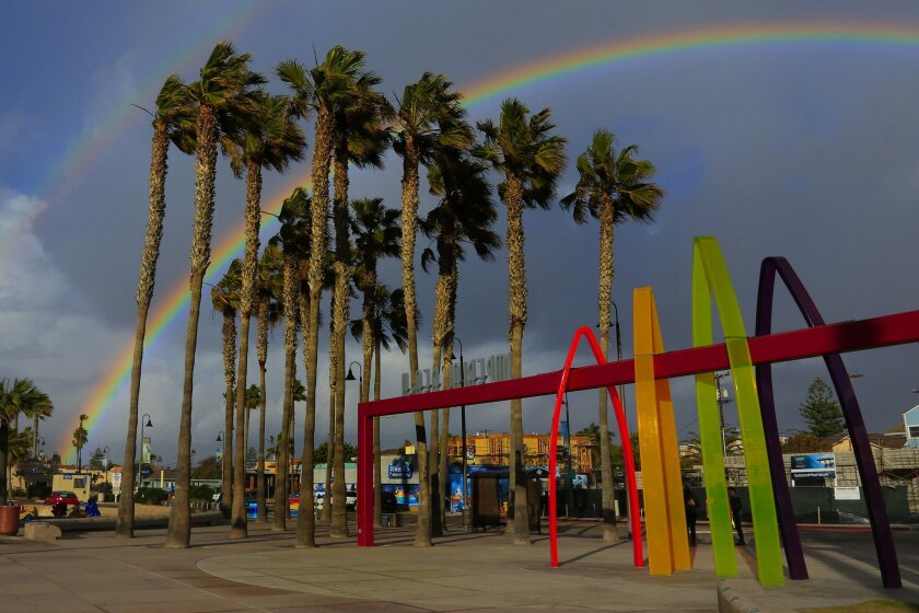 A rainbow ended the afternoon in Imperial Beach on Thursday.