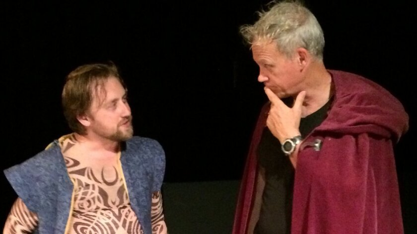 """Steve Smith (left) and Jeff Miller rehearse a scene from """"A True Historie of Prince Prospero."""""""