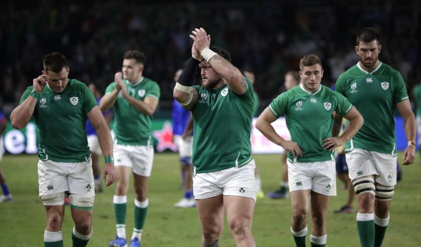 Ireland players celebrate after defeating Samoa 47-5 in their Rugby World Cup Pool A game at Fukuoka Hakatanomori Stadium in Fukuoka, Japan, Saturday, Oct. 12, 2019. (AP Photo/Aaron Favila)