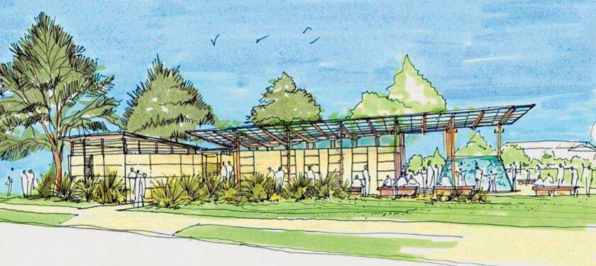 Artist's rendering of the Cove Pavilion restrooms still under construction for Ellen Browning Scripps Park in La Jolla