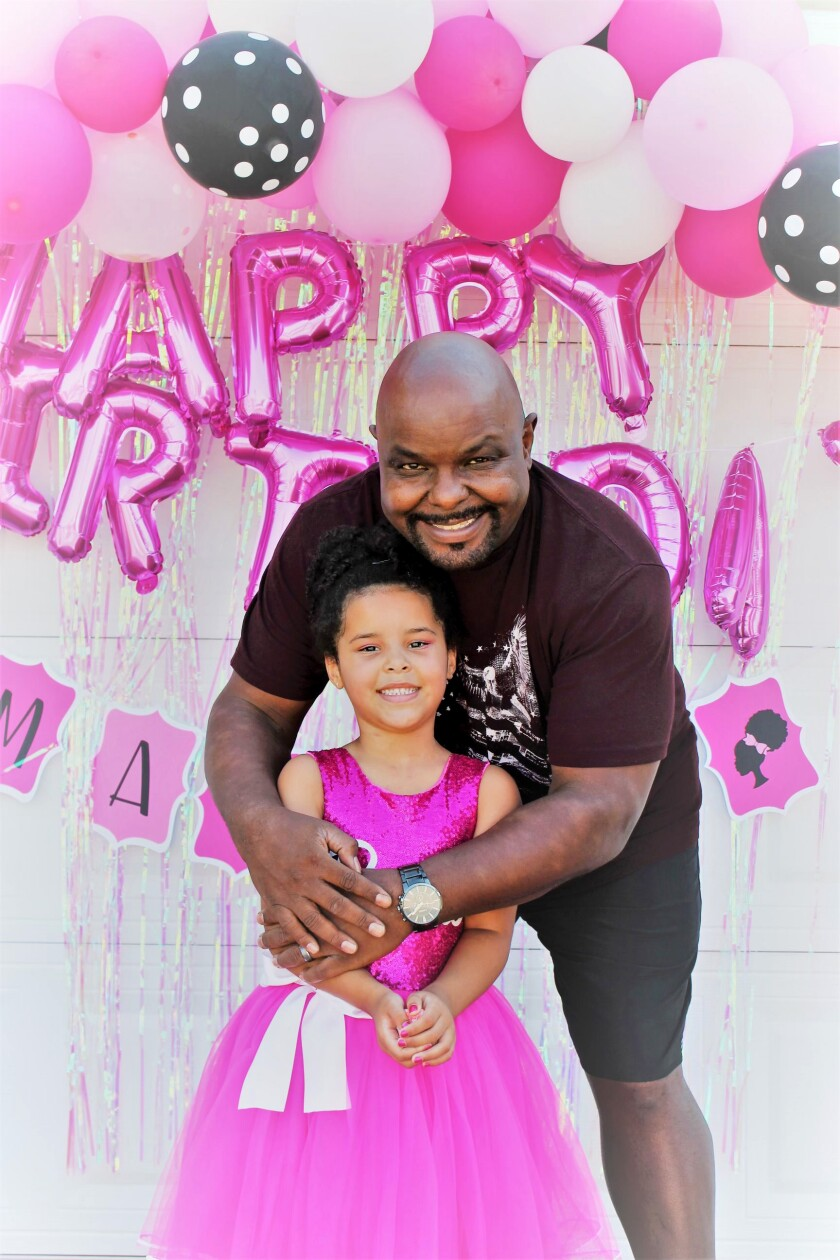Kevin Fairman with his daughter Marley during a party on her sixth birthday on Oct. 19, 2020.