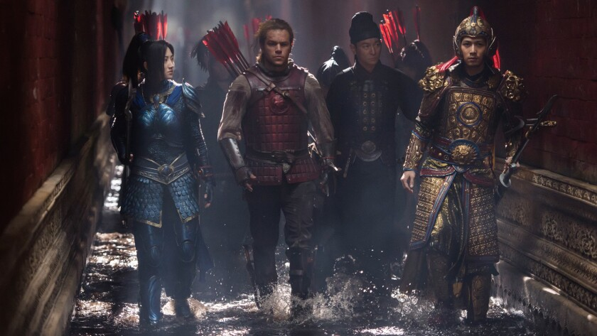 """Jing Tian, left, Matt Damon, Andy Lau and Cheney Chen in the movie """"The Great Wall."""""""
