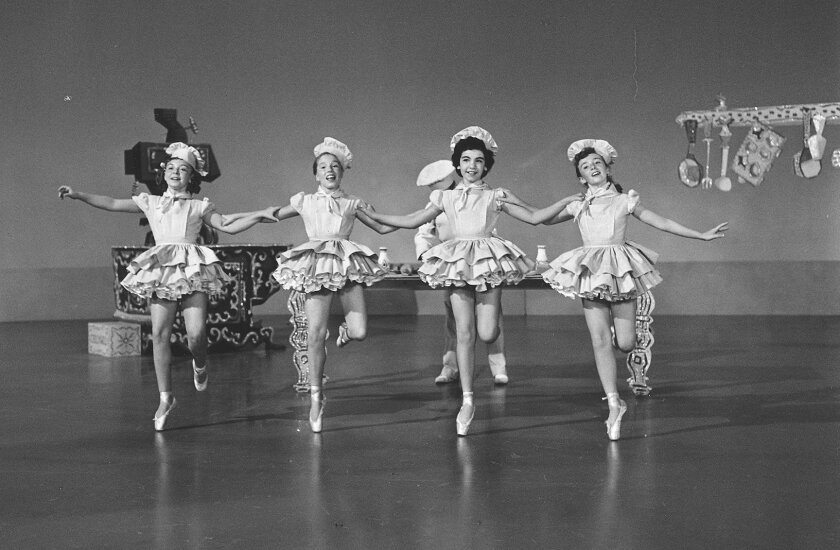 """Nancy Abbate (far right) dances on """"The Mickey Mouse Club"""" with Annette Funicello, who is directly to the left of Abbate.  Courtesy photo"""
