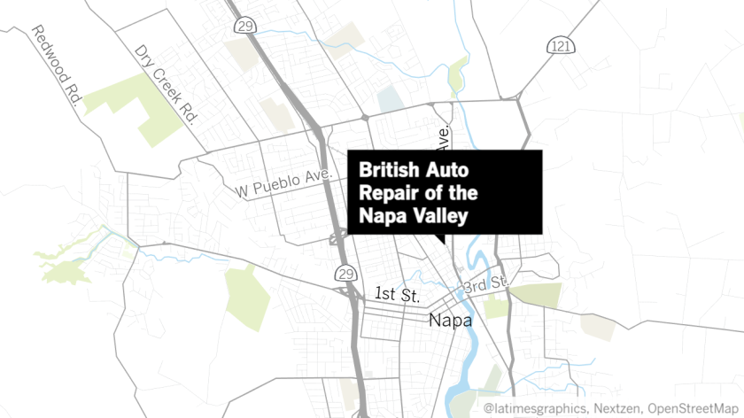 A map of Napa, California, with a label pointing to British Auto Repair of the Napa Valley.